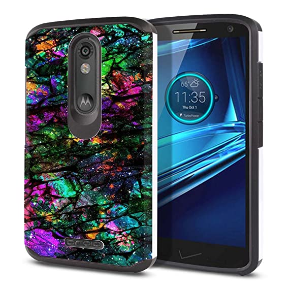 FINCIBO Case Compatible with Motorola Droid Turbo 2 Kinzie XT1585, Dual Layer Hard Back Hybrid