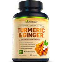 Turmeric Curcumin with Ginger & Apple Cider Vinegar, BioPerine Black Pepper, 95% Curcuminoids, Natural Joint & Healthly Inflammatory Support, Antioxidant Tumeric Supplement, Made in USA, Nature's Base