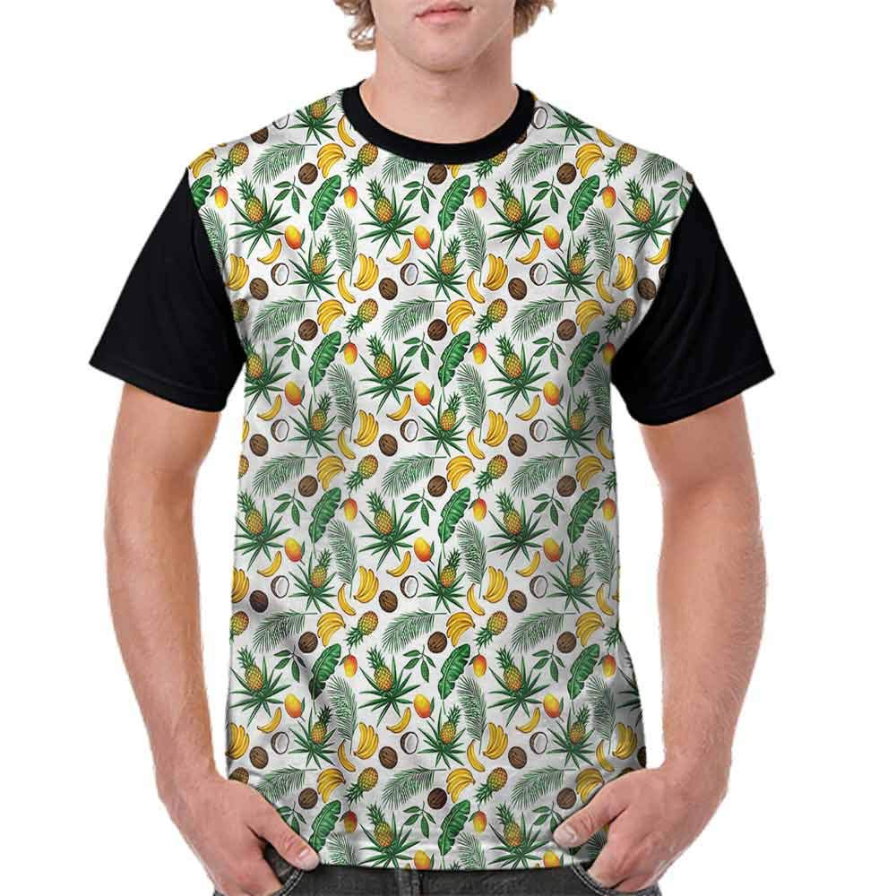 Casual Short Sleeve Graphic Tee Shirts,Leaf and Birds on The Branch Fashion Personality Customization