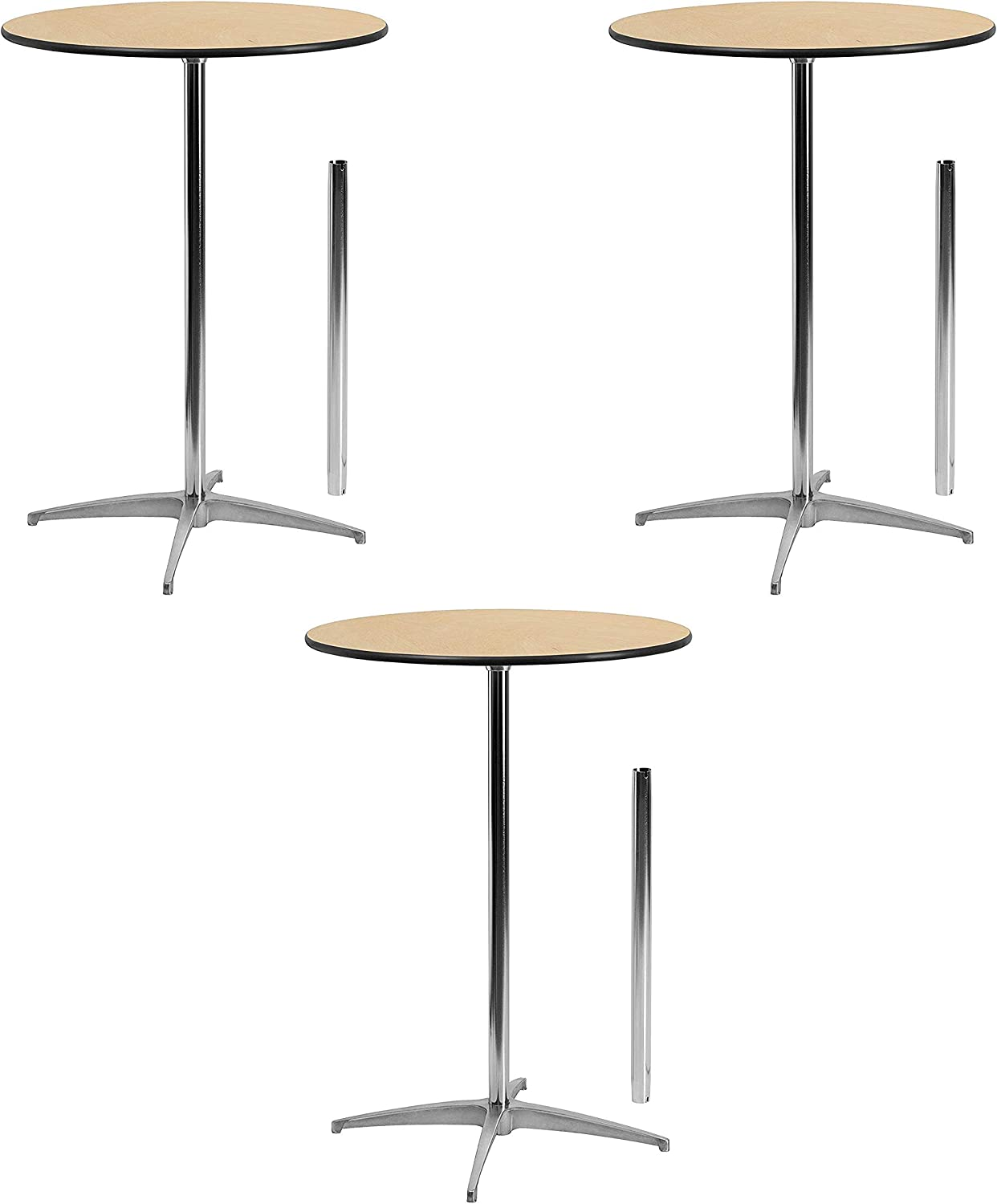 Flash Furniture 36'' Round Wood Cocktail Table with 30'' and 42'' Columns Set of 3 (30 inches)