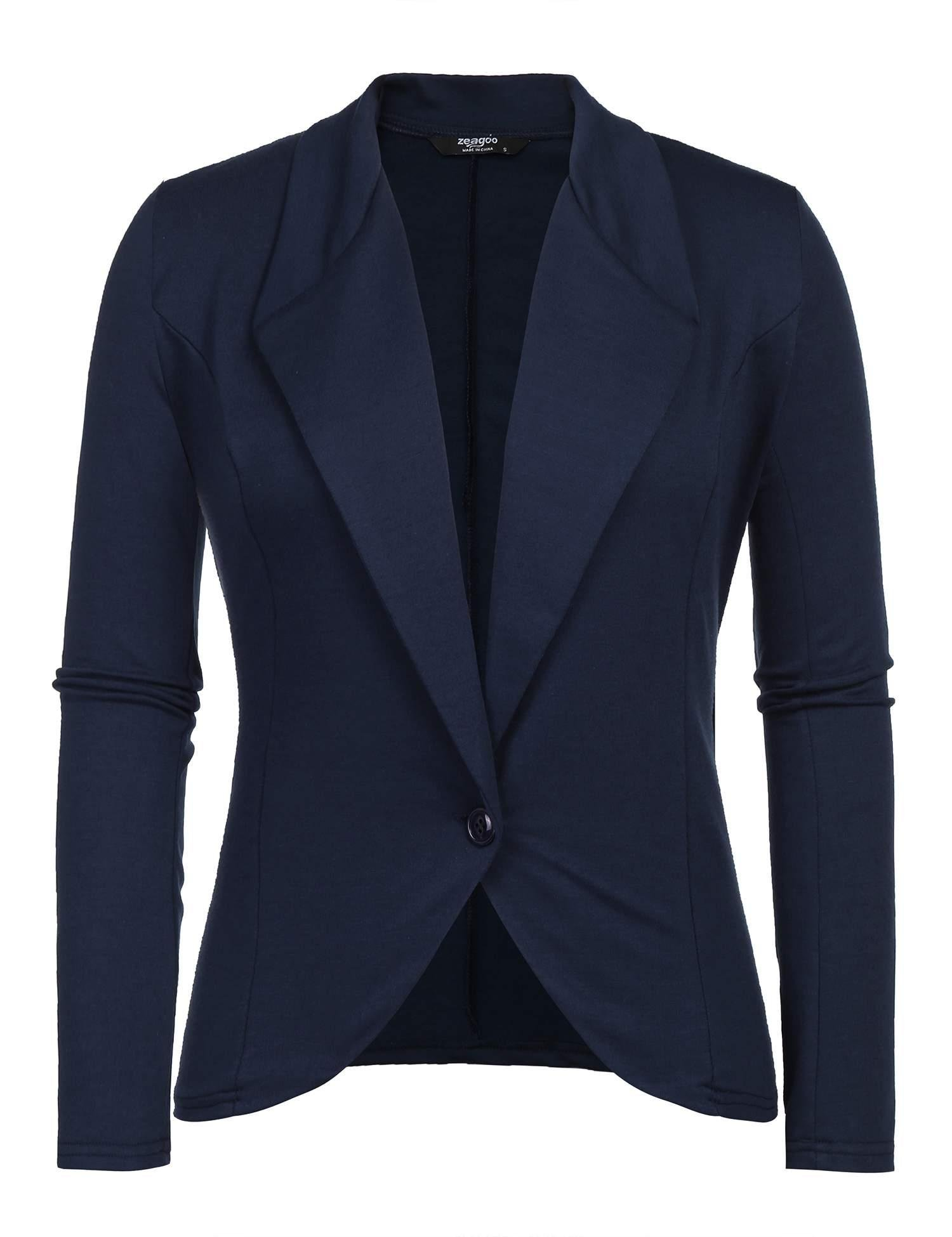 Grabsa Women's Casual Work Solid Color Knit Blazer