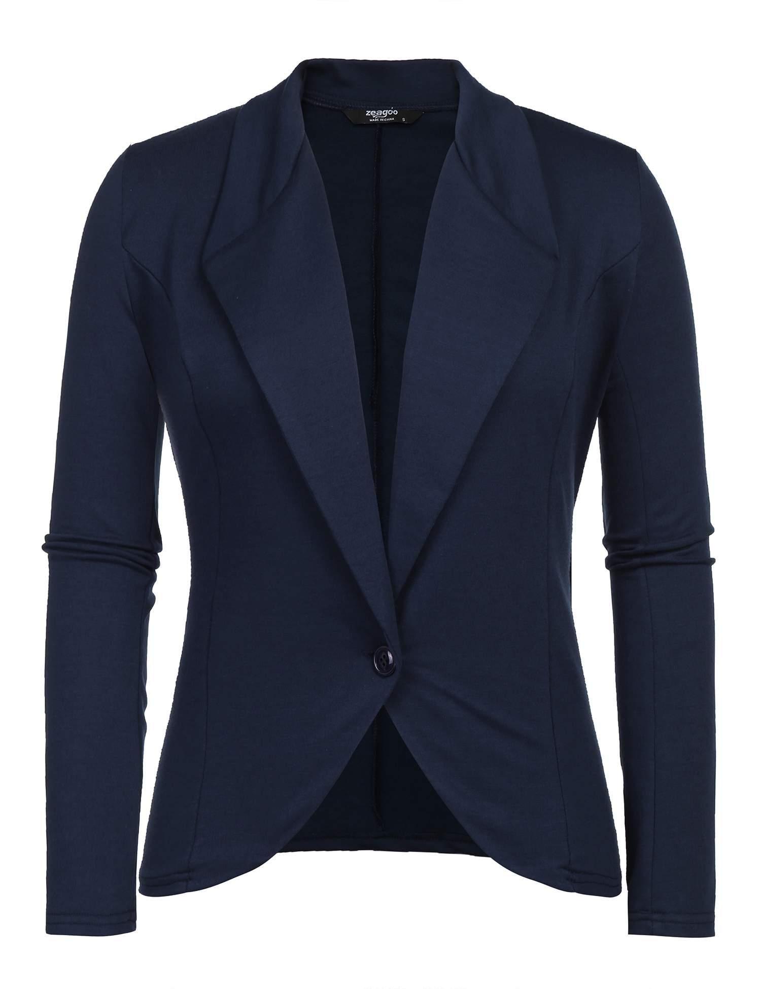 Grabsa Women Casual Open Front Draped Lapel Work Office Blazer Jacket