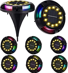 2-in-1 Solar Ground Lights 12 LED Solar Deck Lights Outdoor Color Changing Driveway Solar Powered Disk Lights Waterproof In-Ground Light for Garden Lawn Pathway (Warm+RGB, 8 Pack)