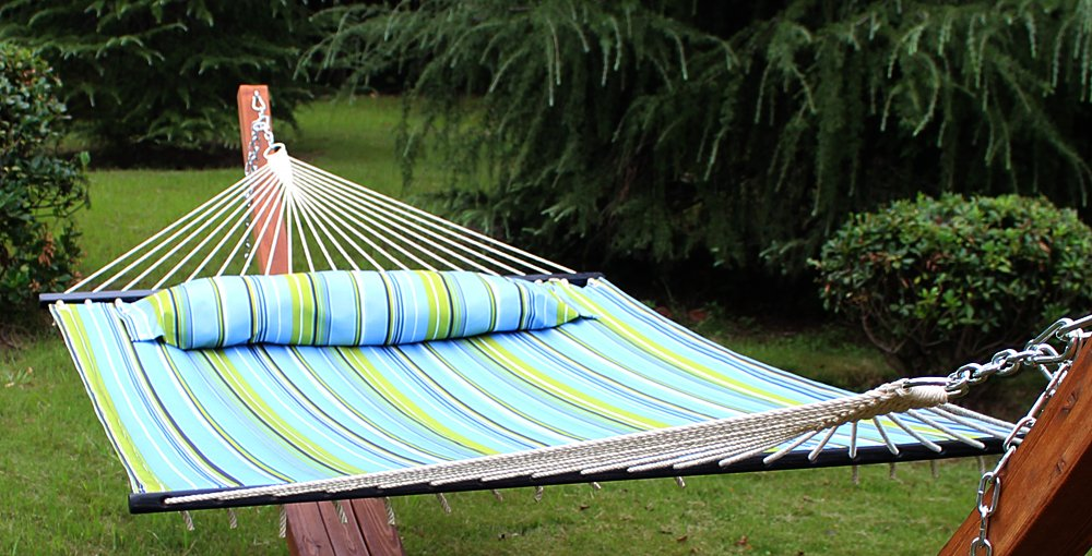 amazon    hammock quilted fabric with pillow double size spreader bar heavy duty portable outdoor camping hammock for outdoor patio yard    450lbs     amazon    hammock quilted fabric with pillow double size spreader      rh   amazon