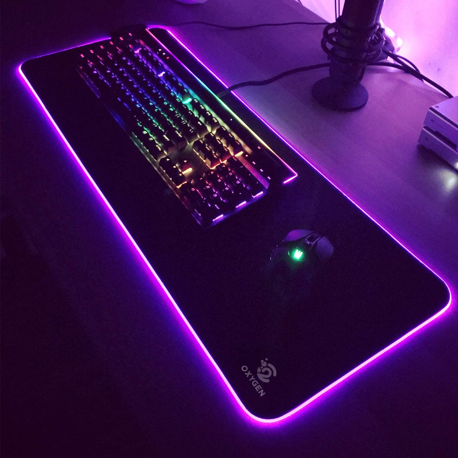 Oxygen RGB Gaming Mouse Pad Non-Slip Rubber Base Keyboard Pad Mat 31.5 X12 inch X 5mm Ultra Bright LED Light/&Soft Large Extended Mousepad with 10 Lighting Modes Water Resistance