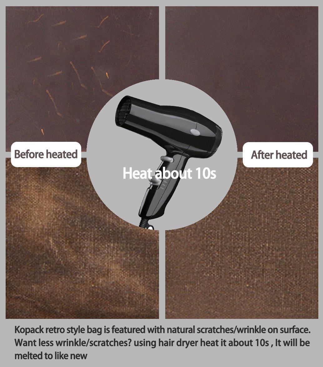 Kopack Waterproof Laptop Briefcase 15.6 inch Waxed Canvas Genuine Leather Laptop Bag Coffee by kopack (Image #5)