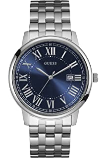 GUESS STEEL W0811G1,Mens Dress,Stainless Steel,Silver-Tone,Blue Dial