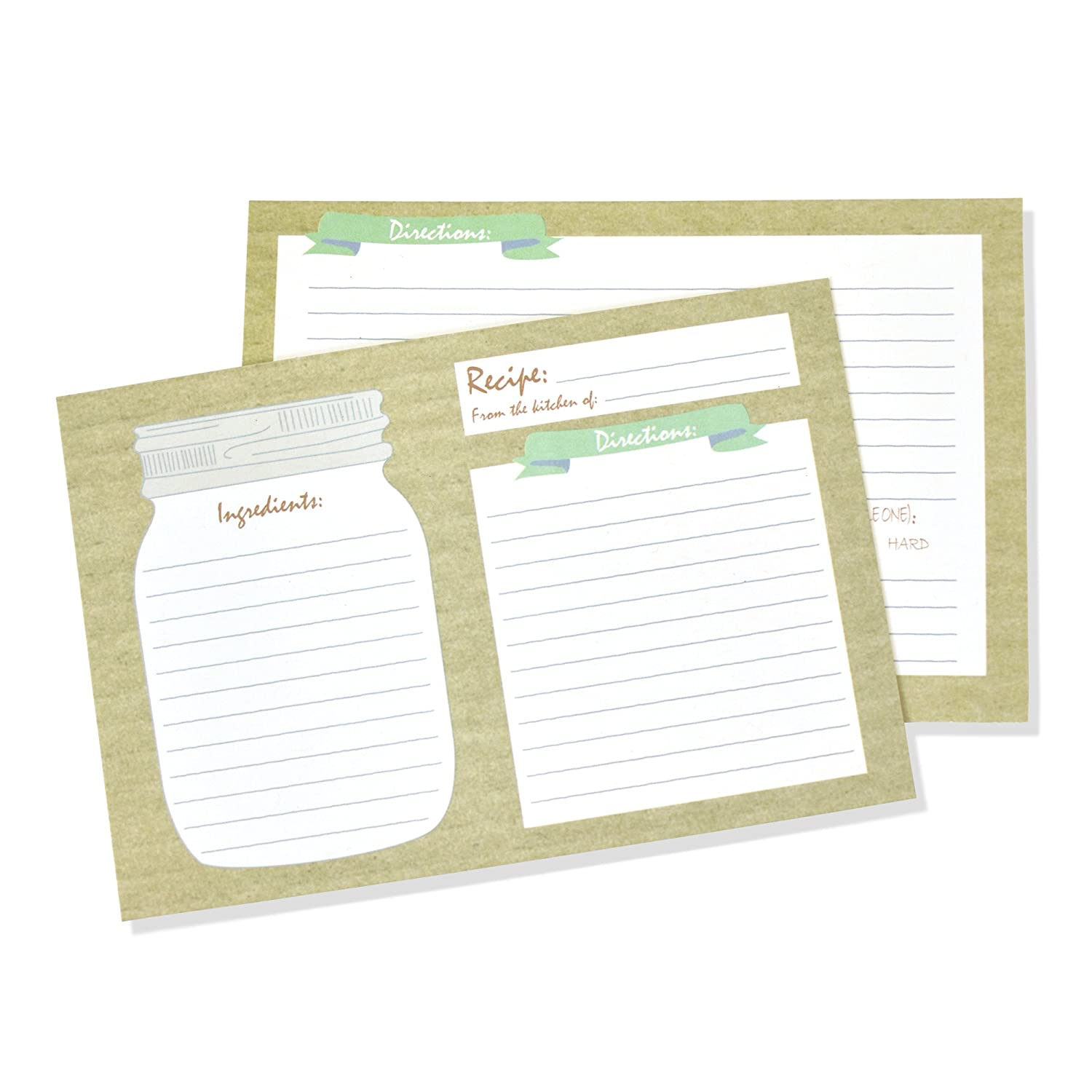 50 Double Sided Thick Mason Jar Recipe Cards Set 4x6 inches Perfect and Easy to Write and Design Cookbook Index Recipes