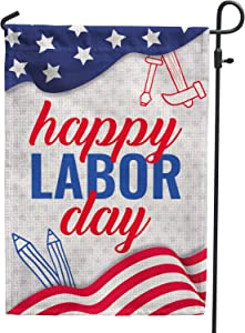 Hollyhorse Happy Labor Day Garden & Yard Flag - 12.5 x18 Inch Double Sided Vertical Outdoor USA Flag | Labor Day Decoration