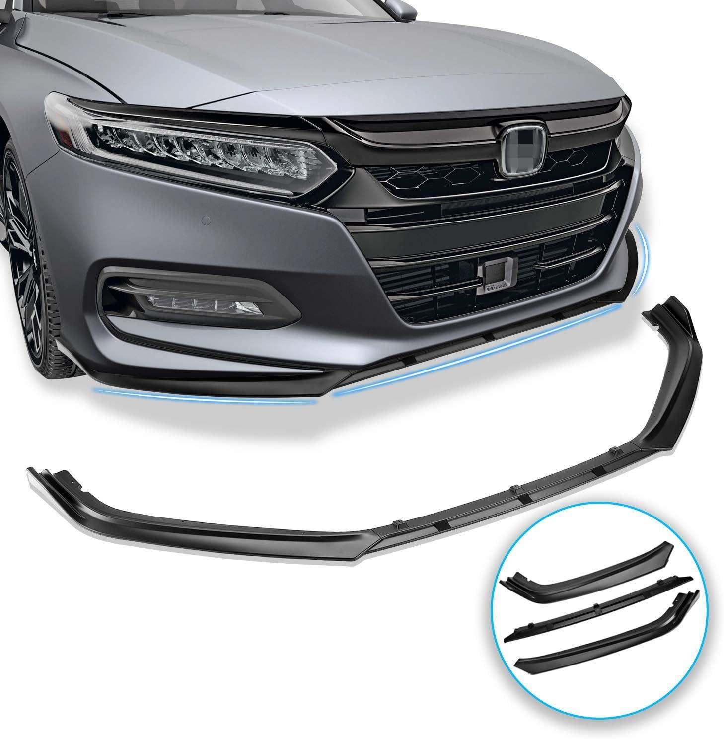 Glossy Black Lip Spoiler Kit Fits for 2018-2019 Honda Accord Akasaka 5 Pieces Design Painted Still Night Pearl Blue Front Bumper Splitter