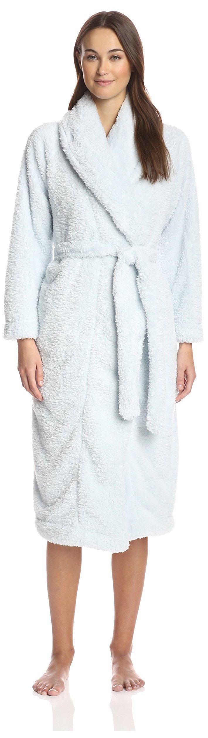 Skin Women's Plush Robe, Artic Blue, M (2)