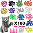 YMCCOOL 140pcs Cat Nail Caps Pet Cat Kitty Soft Claws Covers Control Paws of 7 Shinning Glitter Crystal Colors Nails Caps and 7Pcs Adhesive Glue 7 Applicator with Instruction
