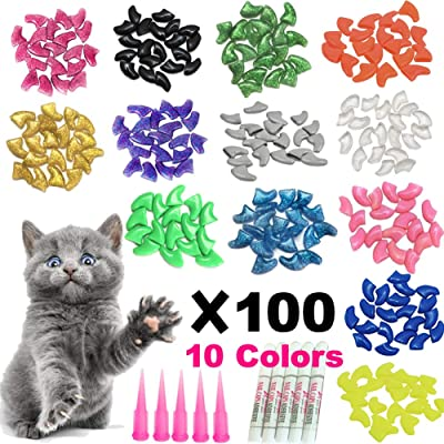 YMCCOOL 100pcs Cat Nail Caps/Tips Pet Cat Kitty Soft Claws Covers Control Paws of 10 Nails Caps and 5Pcs Adhesive Glue 5 Applicator