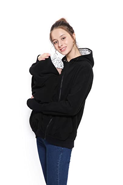 Womens Maternity Hoodie Polar Fleece Sweatshirt, 3 in1 Soft Kangaroo Zipper Up Jacket for Mom and Baby at Amazon Womens Clothing store: