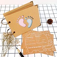 OurWarm 40Pcs Advice Cards Baby Shower, Baby Prediction Cards for Shower Baby Reveal Games, Baby Shower Games Elephant New Parent Message Advice Book for Gender Reveal Game Party, Kraft Paper Collection