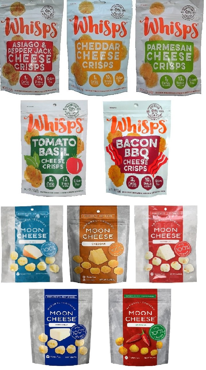 Whisps 5 Flavors & Moon Cheese 5 Flavors; Low Carb, Gluten Free, Keto and Paleo Friendly; 100% All Natural Cheese (10 Pack Assortment Bundle) by Cello Whisps