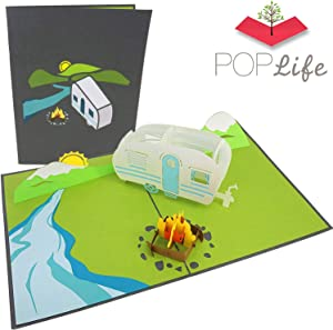 PopLife Camping Trip Pop Up Card - 3D Father's Day Card, Happy Anniversary, Valentine's Day Card for Him, Birthday Popup, Retirement - for Husband, for Son, for Father, Mountain Card, RV Gift