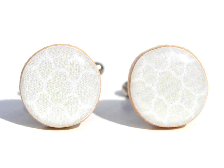 Tan geometric cufflinks. Mens wood cufflinks 5th anniversary gift