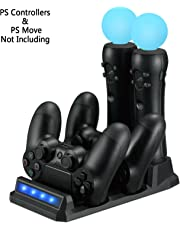 PS VR / PS Move Carica Stazione di Ricarica per Controller / Dock di ricarica per PS4 / PS VR / PS Controller di movimento Move (Dual Charger Dock per DualShock 4 Gamepad +  Storage Port per PS Move)
