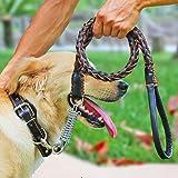 Comsun 犬用リード レザー 1.3メートル 68KGまでに 運動 散歩ひも 中型犬 大型犬 突然の暴走もしっかり制御 ブラック
