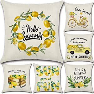 wtisan Summer Lemon Decor Pillow Covers 18X18 Set of 6,Farmhouse Outdoor Yellow Pillow Covers,Cushion Case for Summer