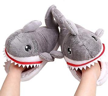 JDXL Zapatillas de Felpa tiburón Invierno Zapatillas Interior Casa Caliente Zapatos Suave Algodón Slippers Mujer Hombres, 10 m: Amazon.es: Deportes y aire ...