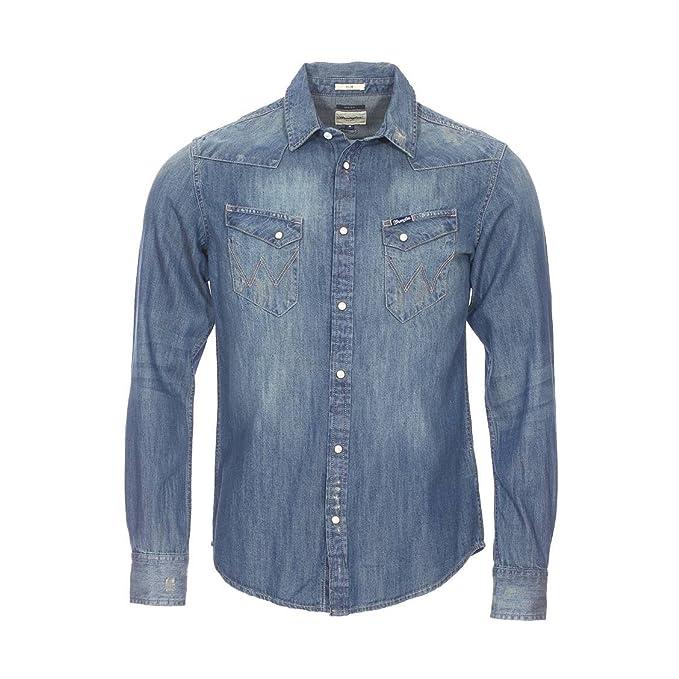 Wrangler - Camisa Casual - para Hombre Azul Large