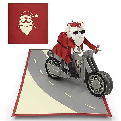 Tarjeta de Navidad, Urhome Motivo Papá Noel en MotocicletaTarjeta ...