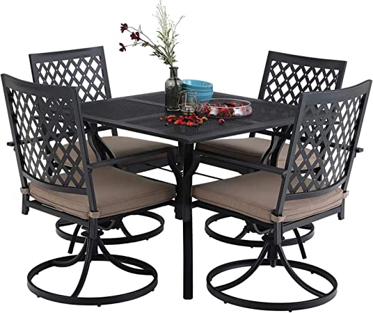 Tufted Chaise Lounge Chair, Amazon Com Mfstudio 5 Piece Black Metal Outdoor Patio Dining Bistro Set With 4 Swivel Chairs And Steel Frame Slat Larger Square Table 37 Table And 4 Backyard Garden Chairs Outdoor Furniture Set