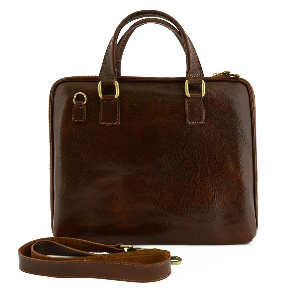 Made In Italy Genuine Leather Briefcase With Zip Closure And Side Bellows Color Brown - Business Bag B01BOGNO5G