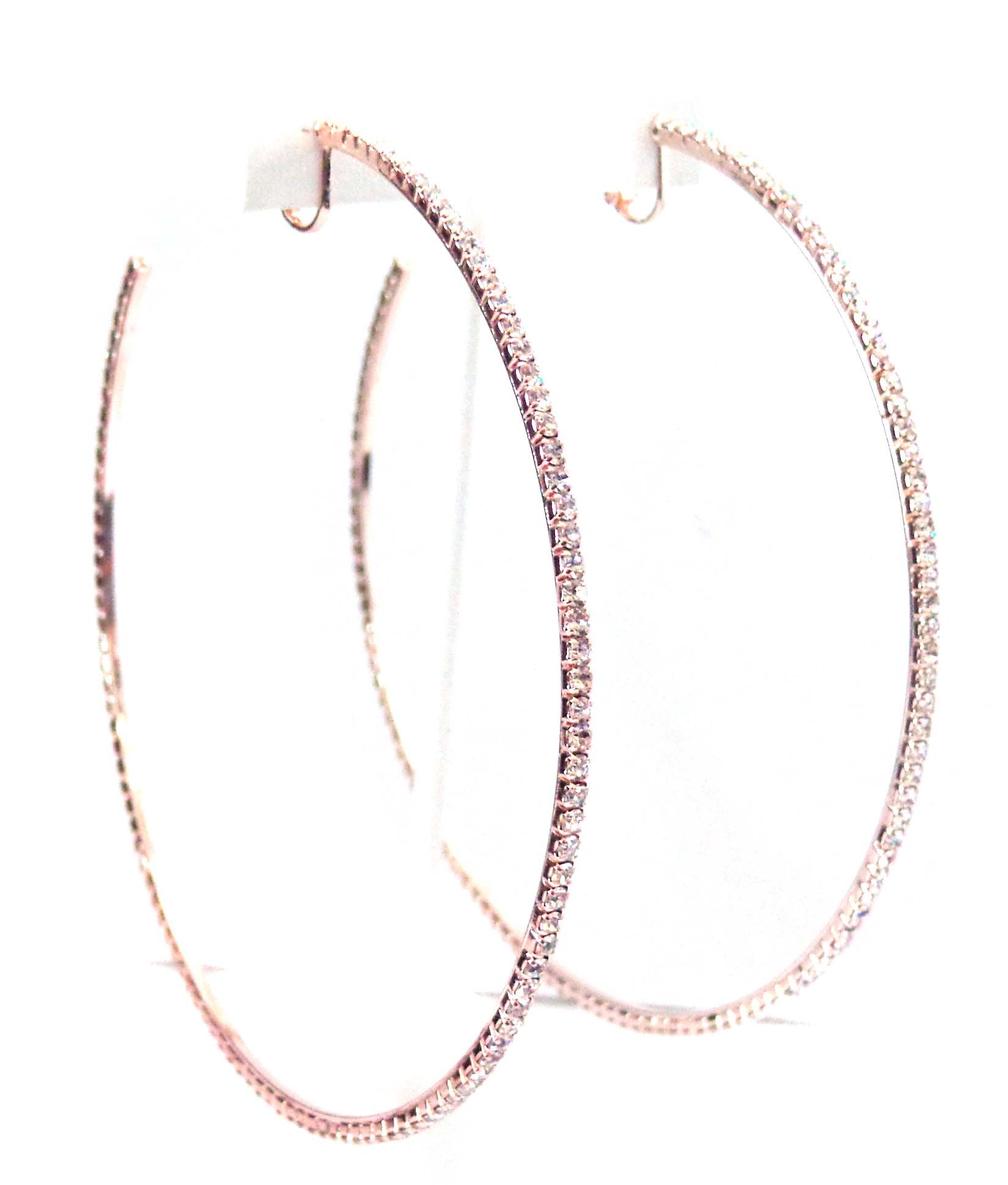 Clip-on Earrings Crystal Hoop Rose Gold Plated Rhinestone Hoops 4 inch Hoops by Fashion Jewelry