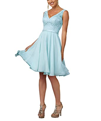 Geshun Womens Short Lace Homecoming Bridesmaid Dresses For Weddings Knee Length Prom Gown Blue Size 2