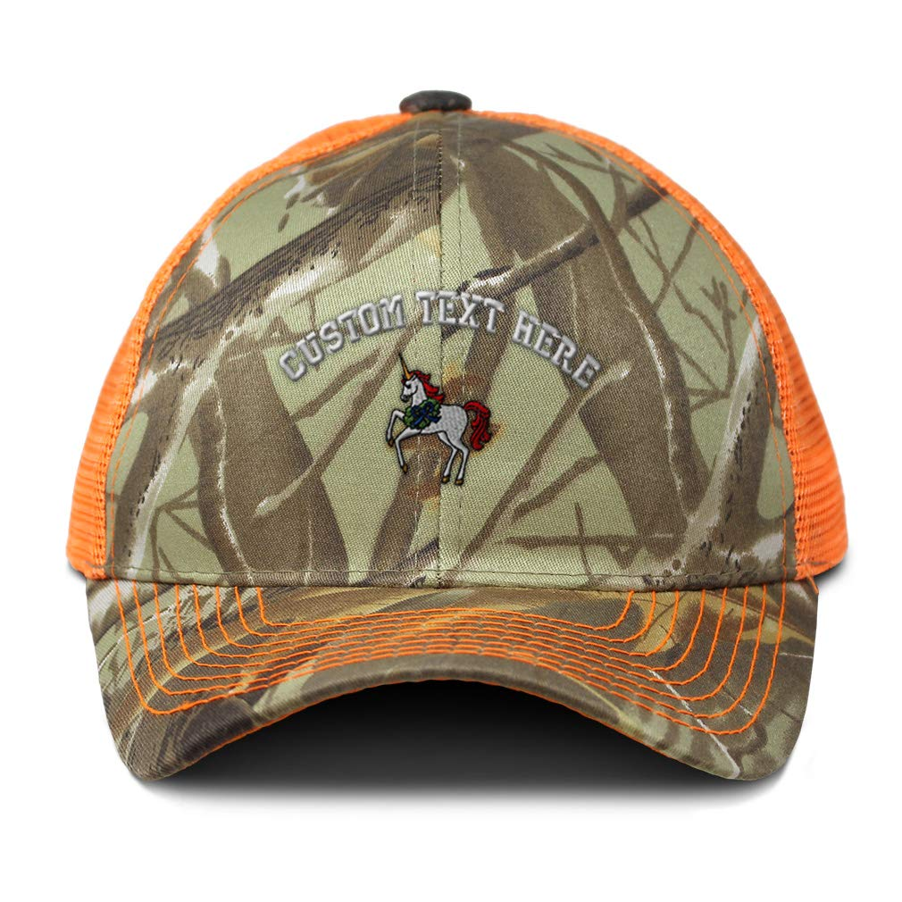 Custom Camo Mesh Trucker Hat Christmas Unicorn Embroidery Cotton One Size