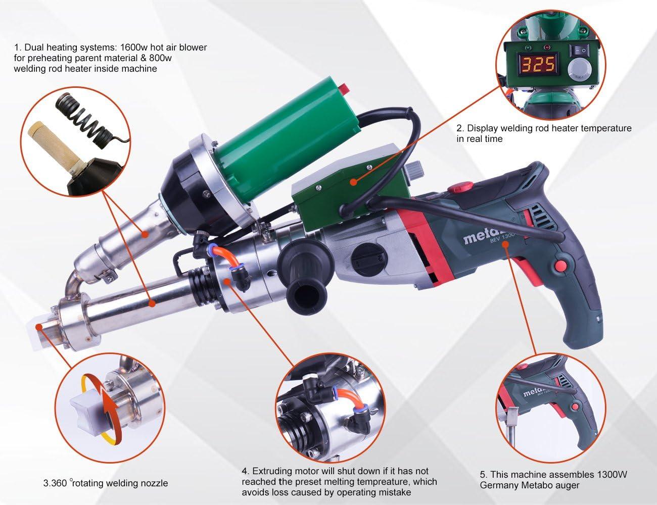 LESITE Handheld Plastic Extrusion Welder Kit for Fabrication ...