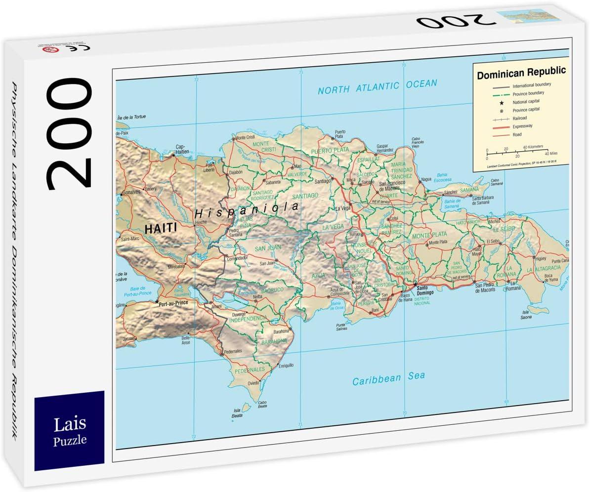 Lais Puzzle Mapa Físico República Dominicana 200 Piezas: Amazon.es ...
