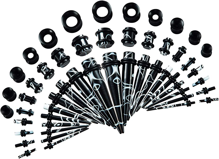 1 Pair Spiral Swirl Acrylic Ear Plugs Stretcher Expander Taper Tunnels Bla.rd