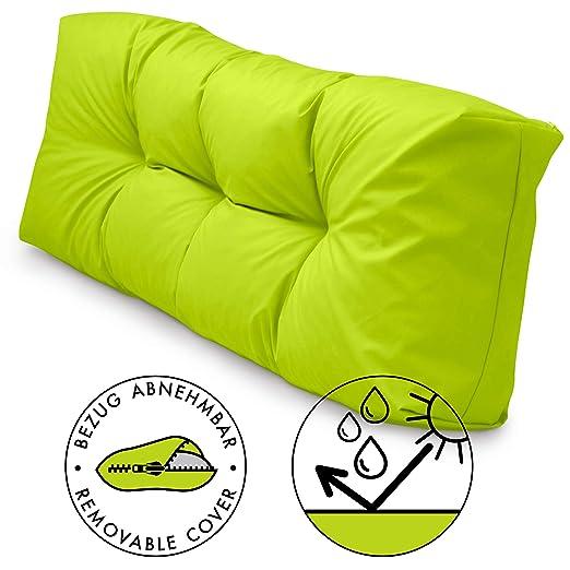 Spatium Cojines para pales europalé palets Funda desenfundable, Impermeable Manzana Verde Respaldo Largo 120x40x15