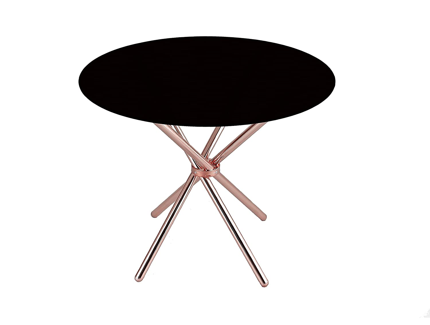 ASPECT Verona Round Dining Table with Glass Top and Chrome Legs, Glass, Black GDT11B