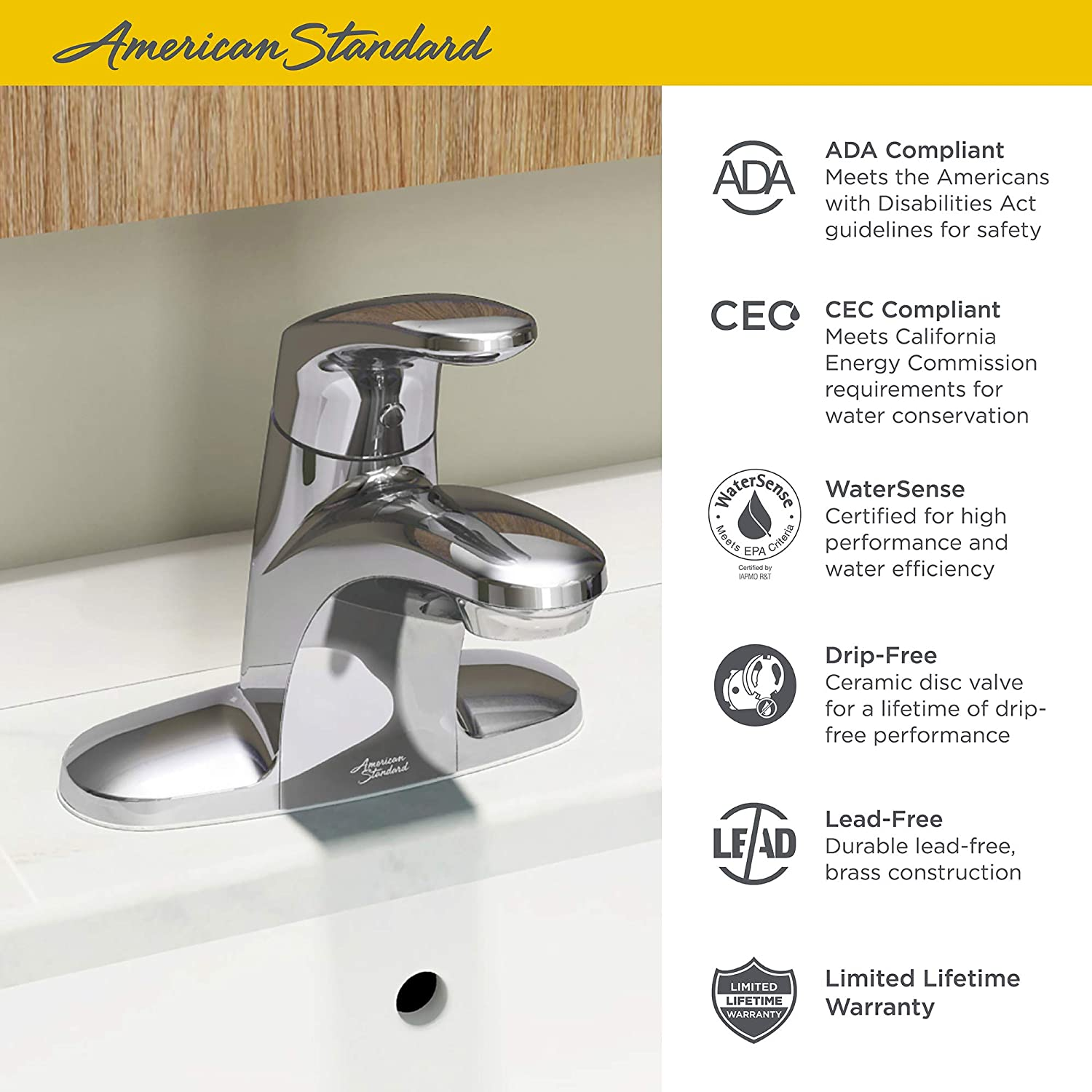 American Standard 7075000 002 Colony Pro Single Handle Bathroom Faucet With Metal Drain 1 2 Gpm Polished Chrome