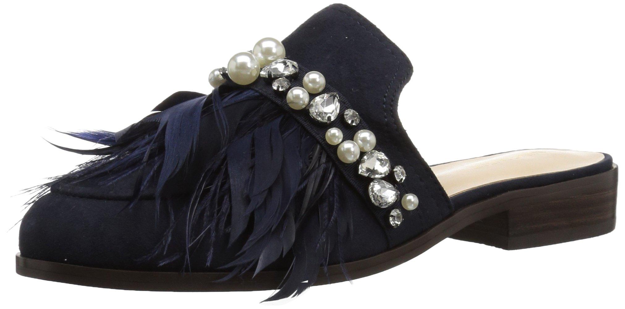 Nine West Women's Jatoba Leather Fashion Boot, Navy, 7.5 Medium US