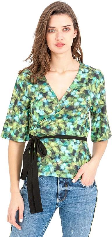 Smash! Blusa Estampada Tonos Verdes con Cuello Pico y