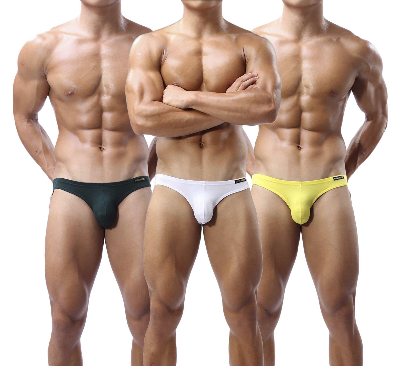 Brave Person Mens Underwear Modal Elastic Comfortable Bikini Briefs SB1112 (X-Large, 3 Pack: Dark Green, White, Yellow)