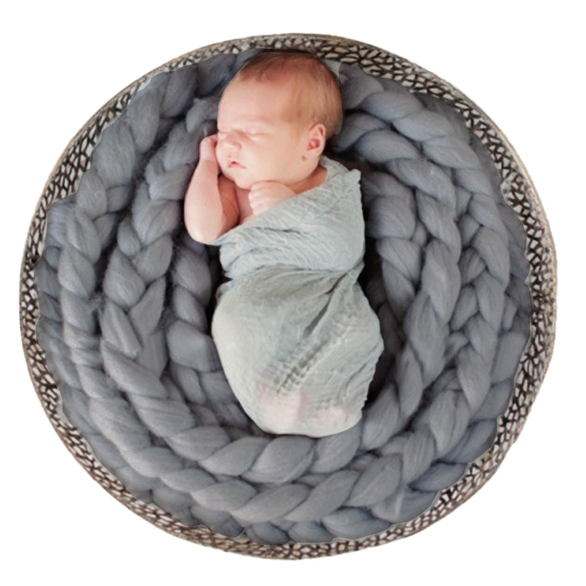 Newborn Photography Basket Braid Wool Wrap Baby Photo Props - Grey by Happy Cherry