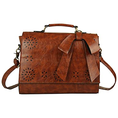 Amazon.com | Ecosusi Vintage Women Faux Leather Messenger Satchel ...