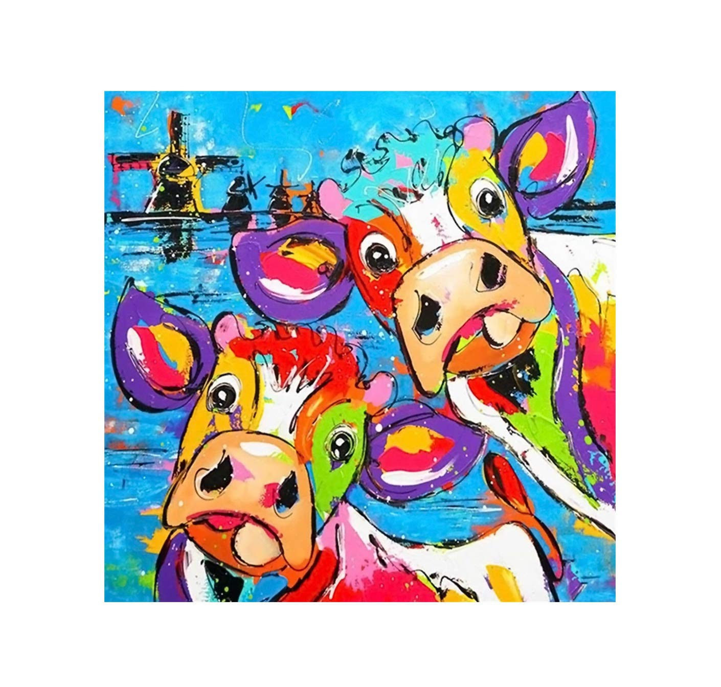 DIY 5D Diamond Painting Kit, Hoshell Graffiti Cow Embroidery Cross Stitch Arts Craft Canvas Wall Decor Diamond Painting for Adults by Number Kit Full Drill Decoration 30x30cm (E)