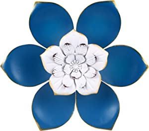 KERNOWO 13 Inch Large Metal Flower Wall Decor Art Inspirational Decorations Wall Sculptures Hanging for Bedroom, Living Room, Bathroom Garden - Boho Office/Home Decor, Handmade Gift for Indoor Outdoor