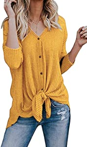 Giveaway: Chuhee Women's S-3XL Button Down Blouse Shirt Tie Knot Thermal...