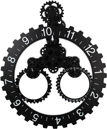 KikerTech KHOME Modern Mechanical, Page Turning Desk Clock, Moving Gear Wall Clock, 3D Movements, Novelty Desk Clock, Office Shelf Clock Home Decorative Alarm Black – Large Gear Change Wall Clock