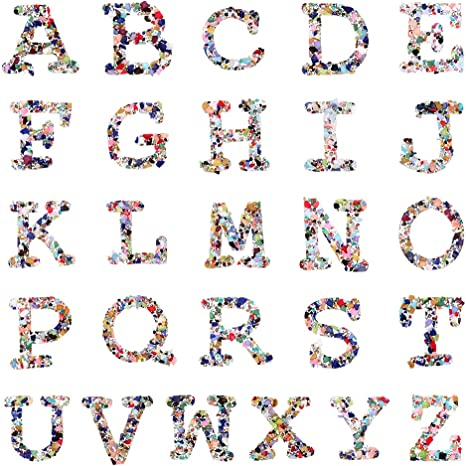"2/"" Bling Sparkle Rhinestone Iron On Sew Patches Alphabet Letters Badges Applique"