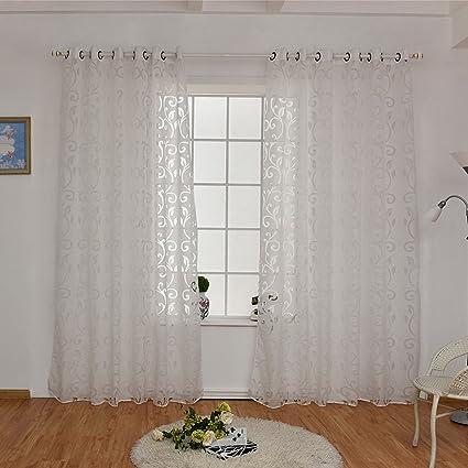 Hoomall Rideau Voilage à Oeillets Intérieur de Fenêtre Décoration de ...